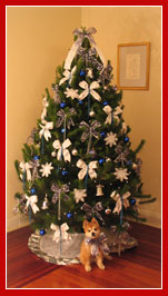 Live Christmas Tree - Mid Sized 8 foot, Snow White and Blue decorations